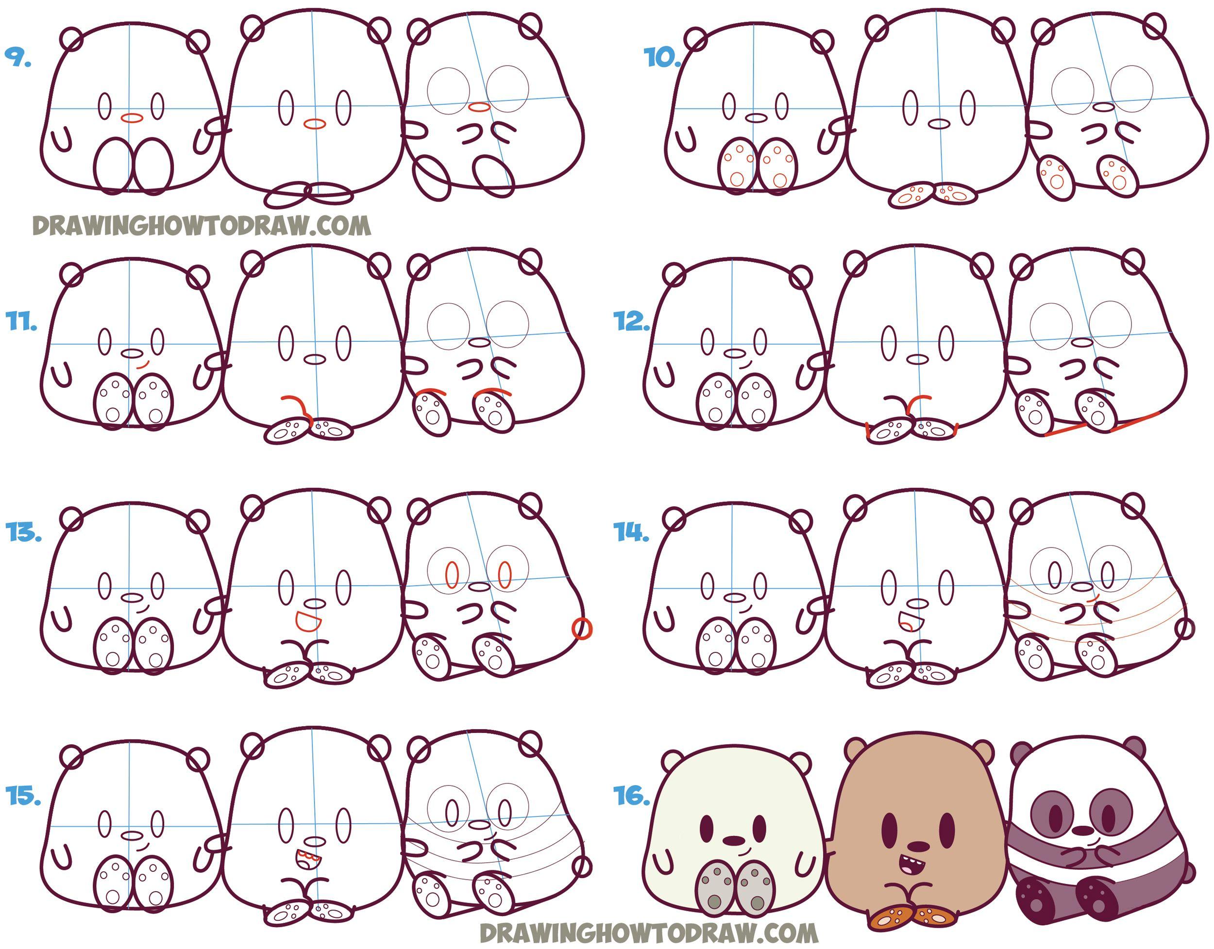 2500x1955 Learn How To Draw We Bare Bears (Cute Kawaii Chibi Baby