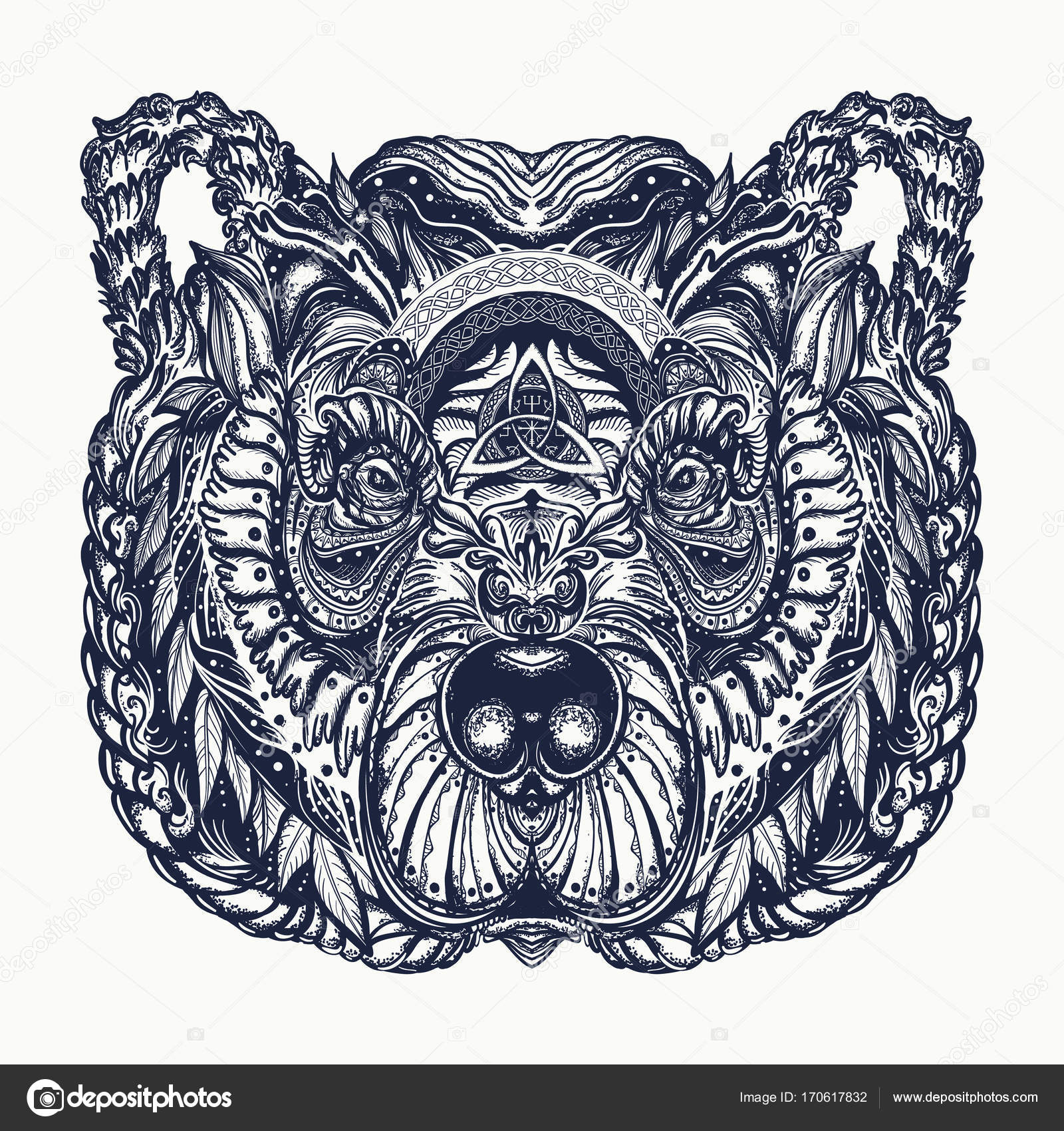 1600x1700 Bear Tattoo And T Shirt Design. Northern Grizzly Bear Stock