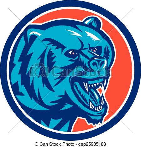 450x470 Grizzly Bear Angry Head Circle Retro. Illustration Of A Vector