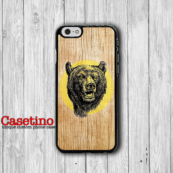 600x600 Iphone 6 Case Wood Grizzly Bear Head Drawing Phone 6 Plus Cases
