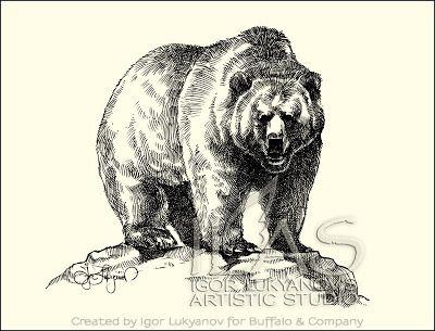 400x305 Grizzly Bear On Rock Lindas Art Bears, Artsy