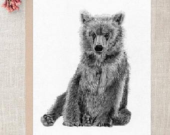 340x270 Grizzly Drawing Etsy