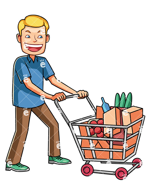 585x755 A Man Pushing A Shopping Cart Full Of Groceries