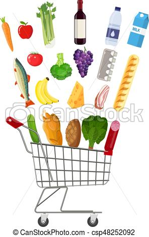 296x470 Metal Shopping Cart Full Of Groceries Products. Grocery Eps