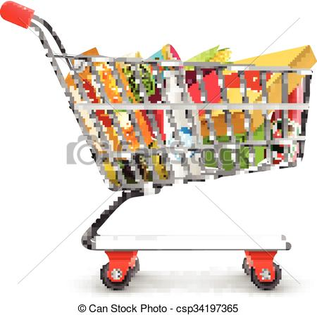 450x448 Shopping Supermarket Cart With Grocery Pictogram . Clip Art