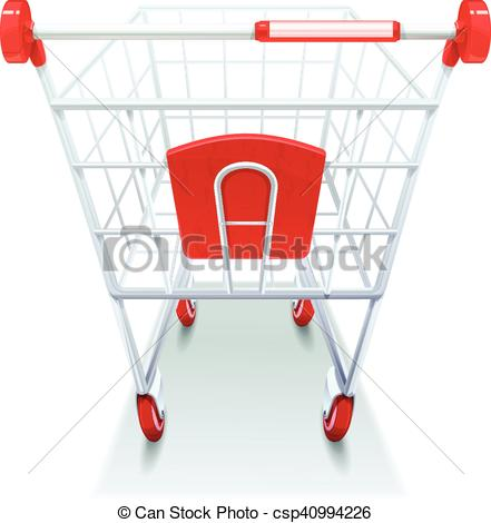 441x470 Supermarket Grocery Shopping Cart Realistic Image . Vector