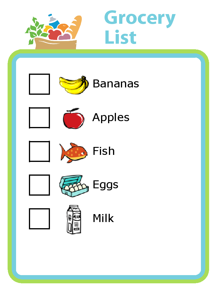 743x999 Grocery Shopping List With Pictures For Kids