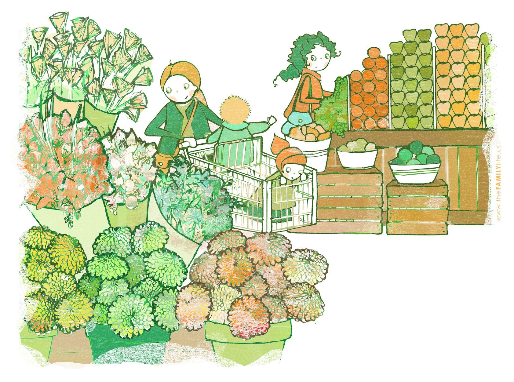1683x1251 Grocery Store Floral Produce Department Display Drawing Mom Kids
