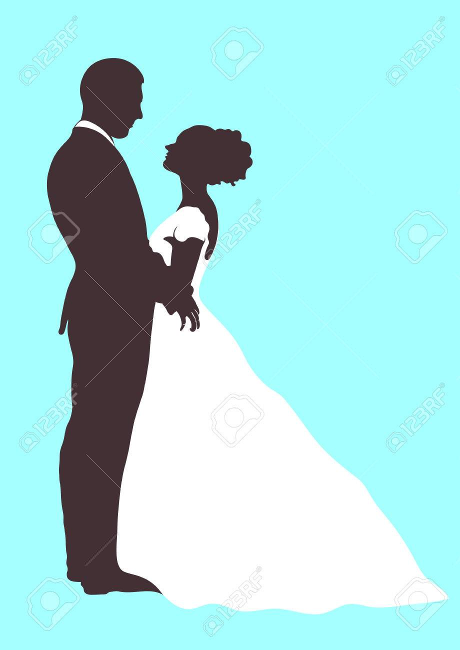 920x1300 Bride And Groom Silhouette, Vector Icon, Outline Cartoon Contour