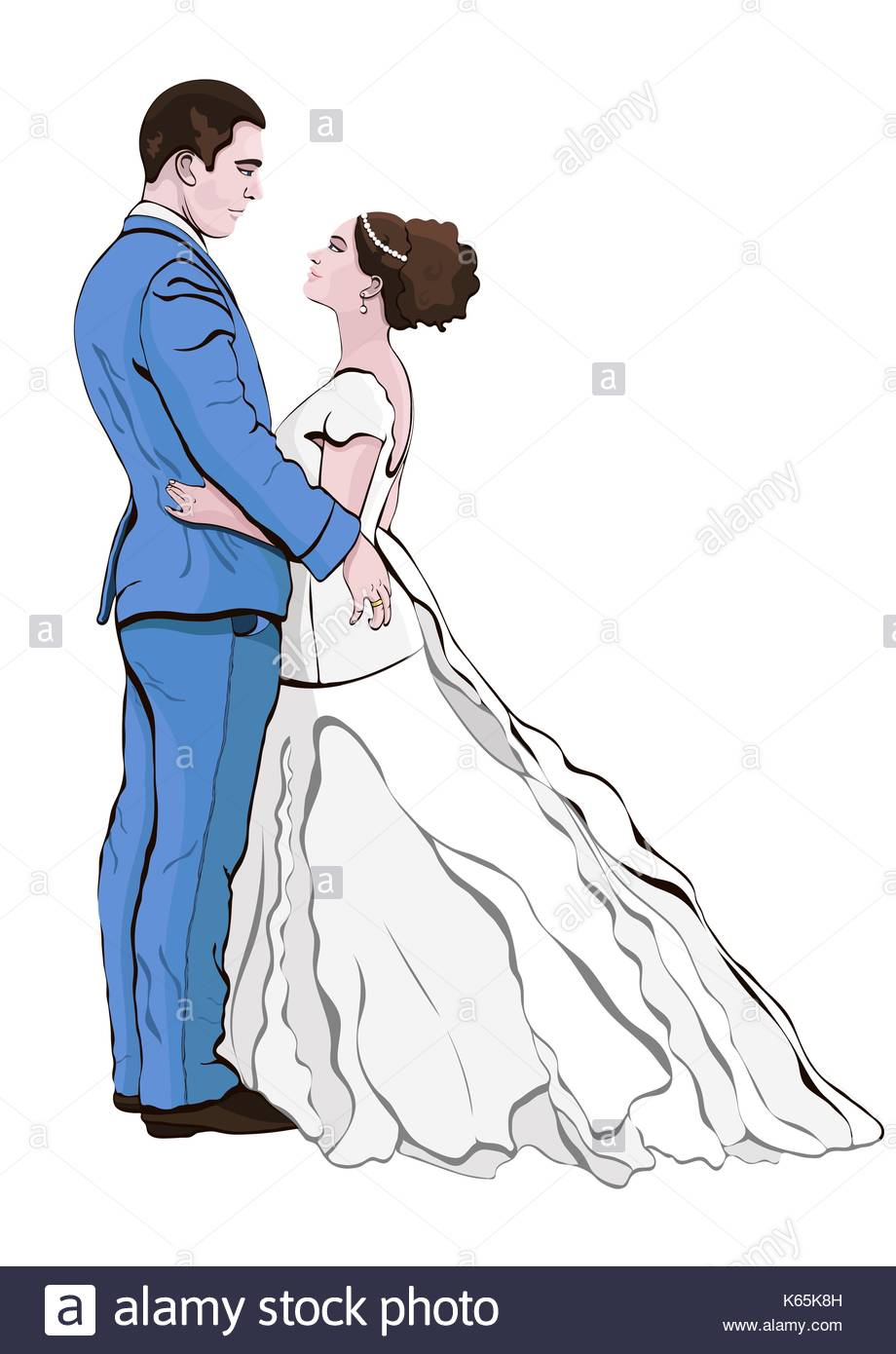 920x1390 Bride And Groom Cartoon Vector, Hand Drawing. Couple In Love