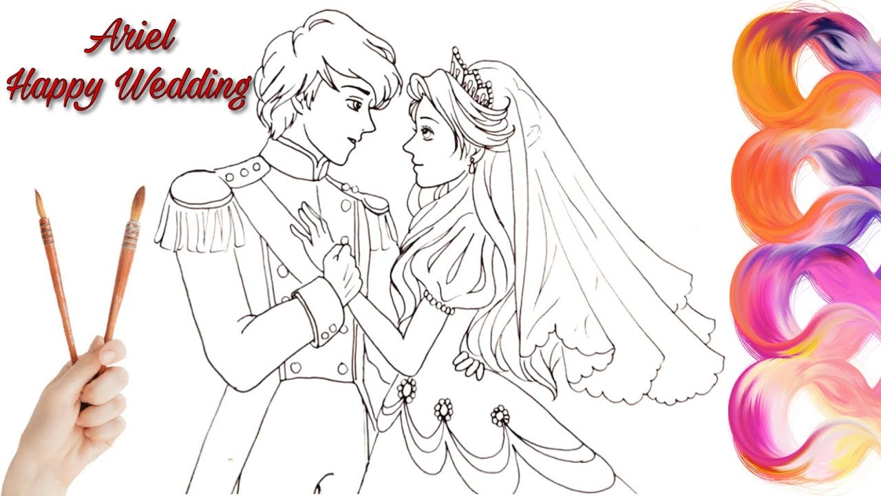 1280x720 How To Draw Little Bride And Groom Ariel Coloring Pages Videos