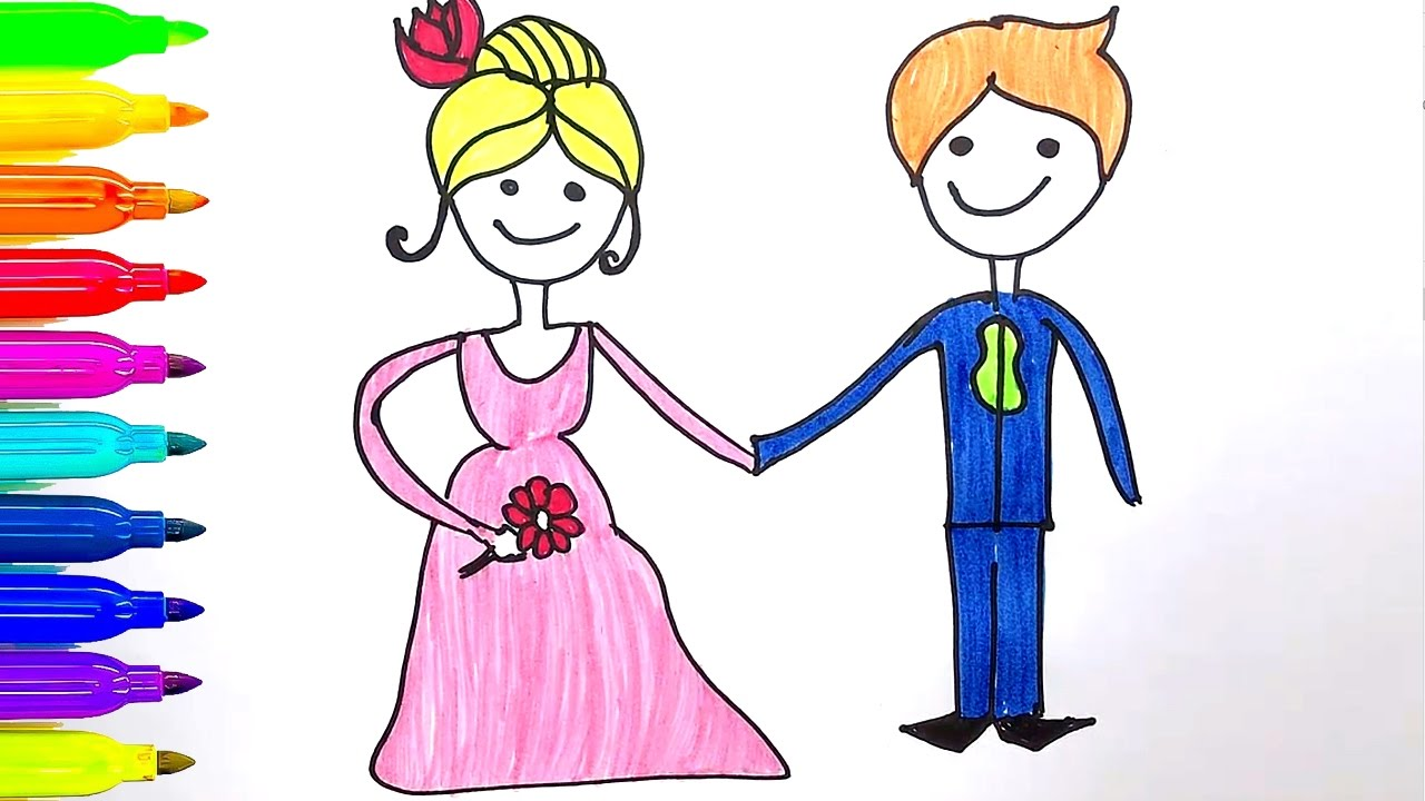 1280x720 Learn Colors For Kids How To Draw Groom And Bride Coloring Page