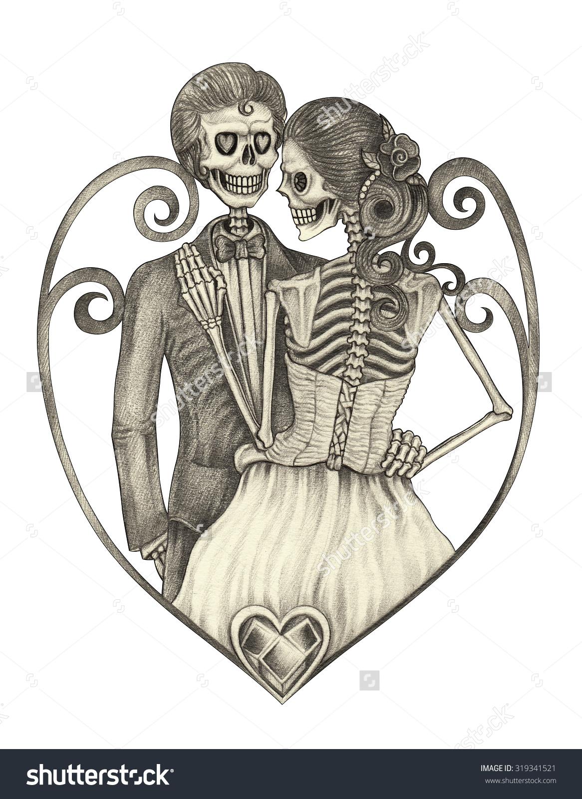 1166x1600 Skeleton Bride And Groom Drawing