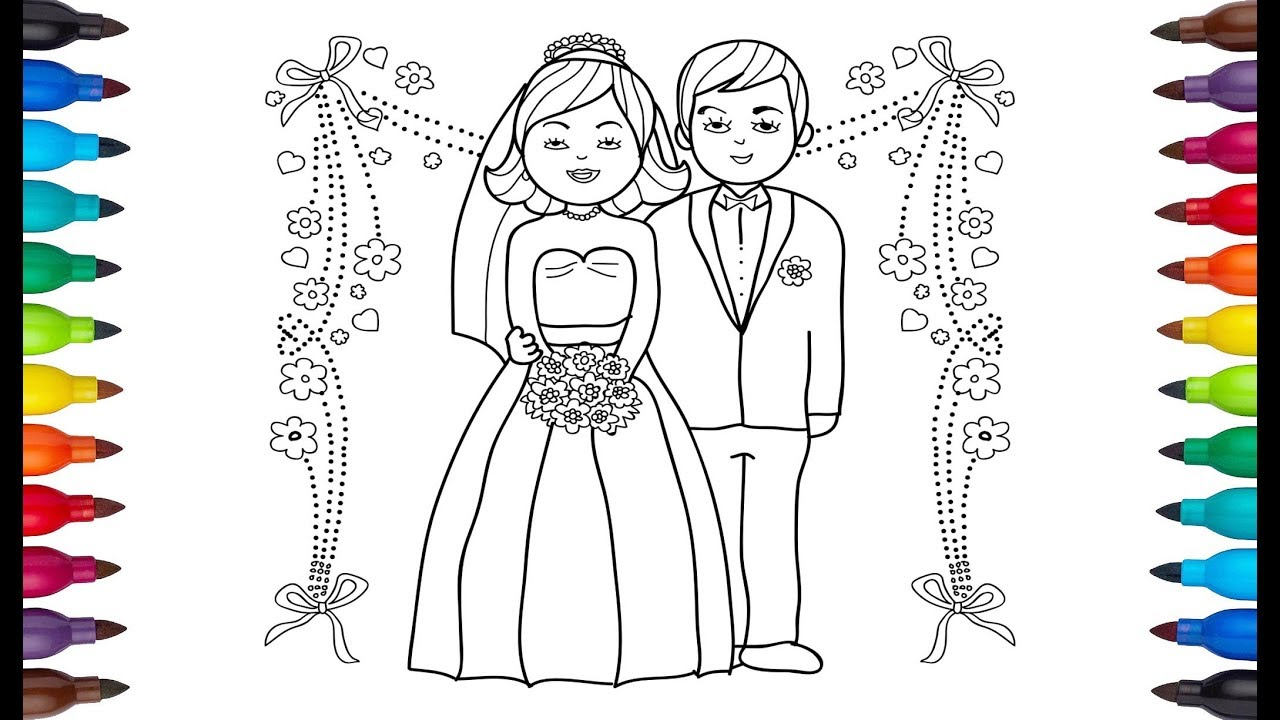 1280x720 Drawing Bride Groom Bride Groom Drawing Drawing For Kids
