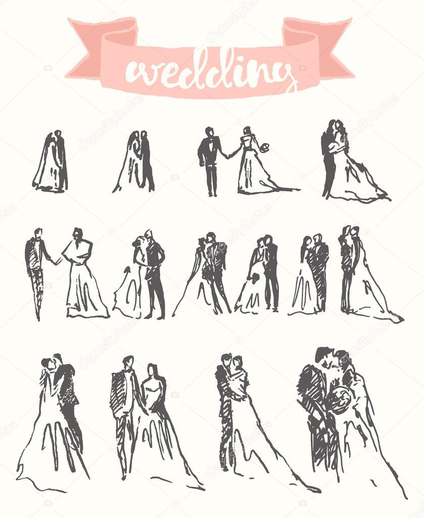 839x1024 Drawn Happy Bride Groom Vector Illustration Sketch Stock Vector