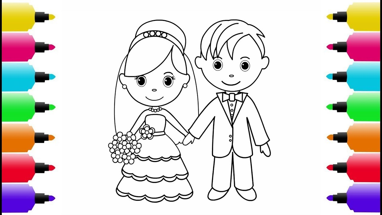 1280x720 How To Draw Little Bride And Groom