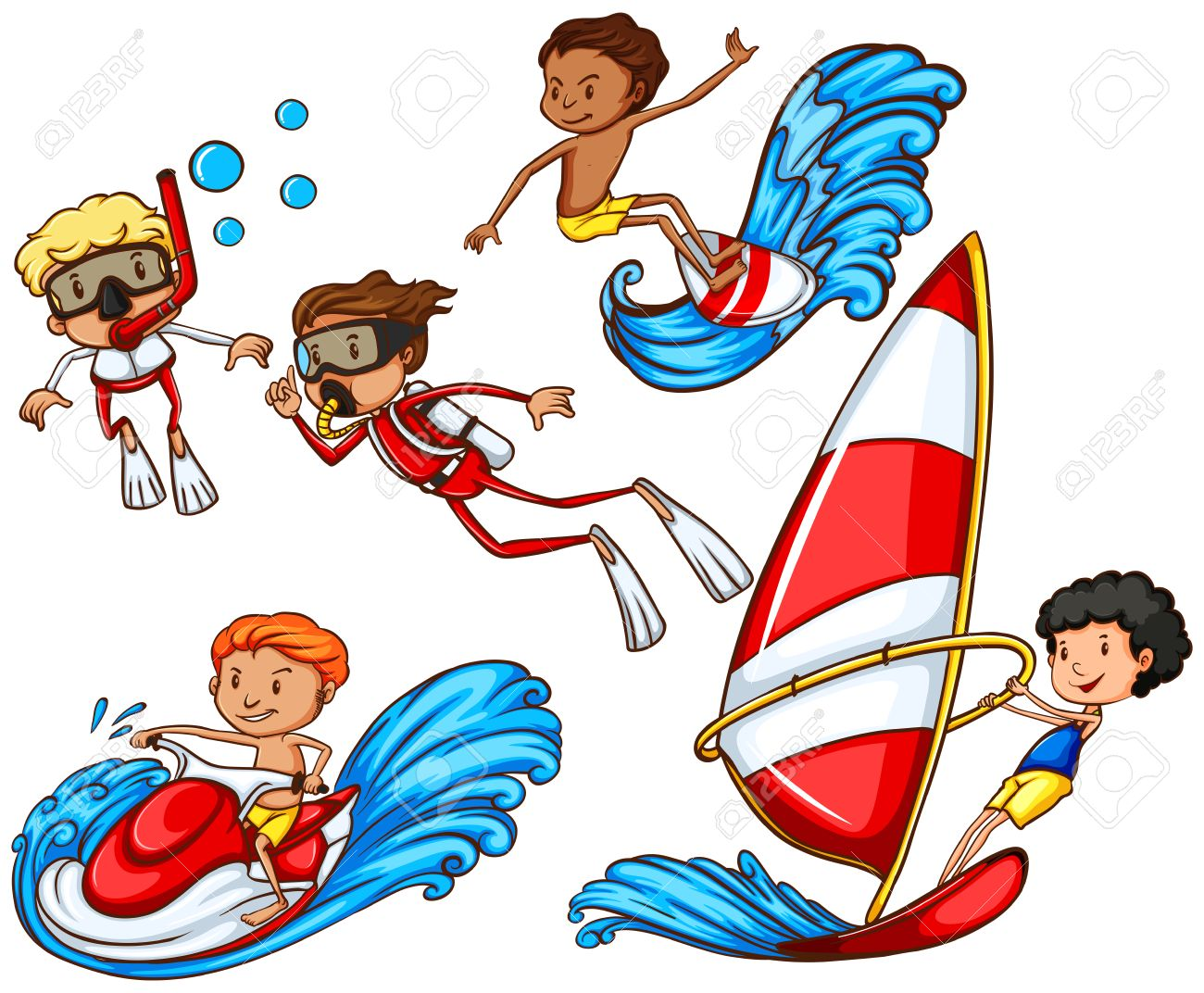 1300x1072 A Drawing Of A Group Of People Doing Watersports On A White