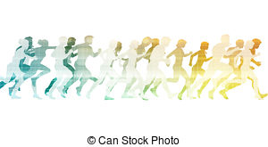 300x165 Big Group Of People Running On Blue Sky Background . Drawings