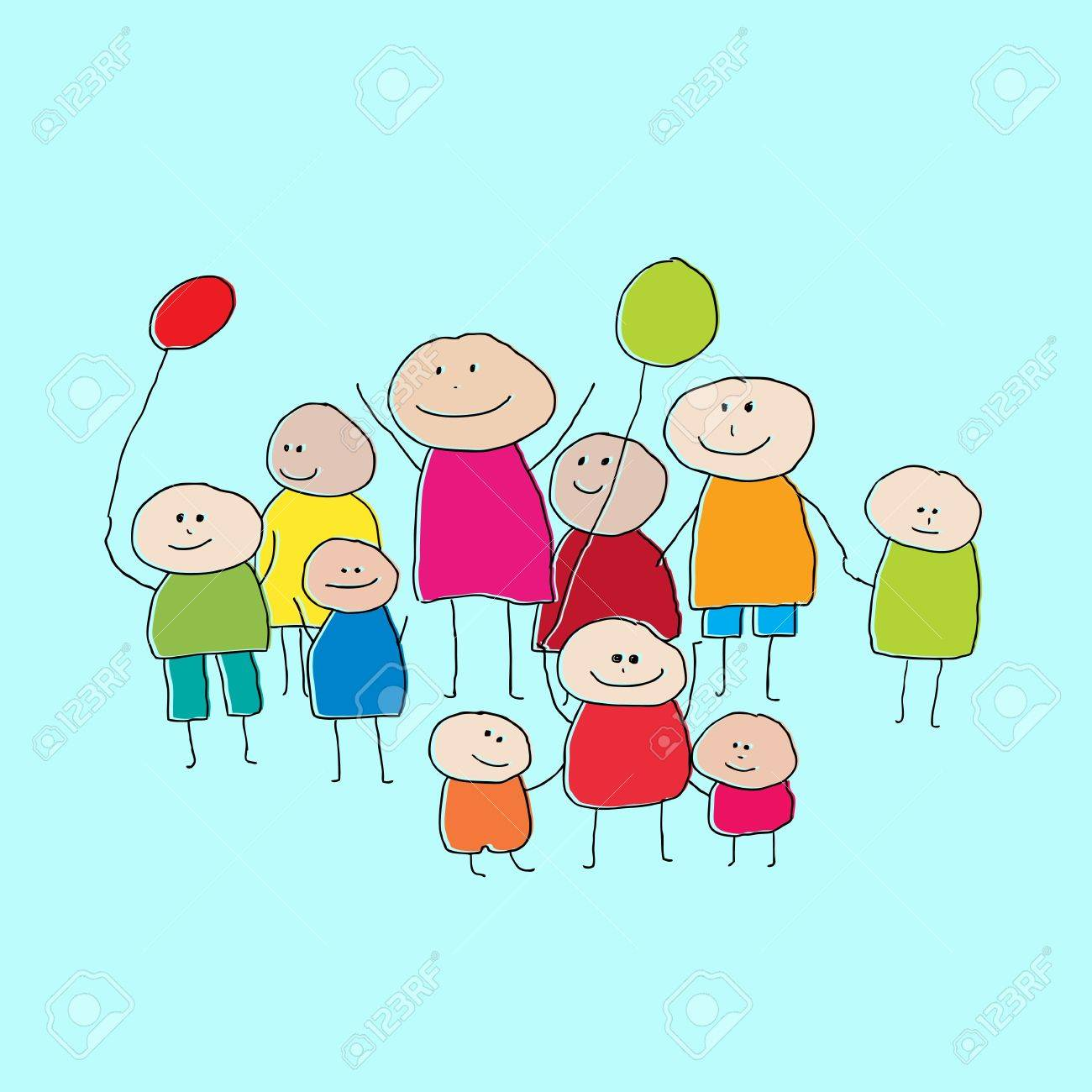1300x1300 Drawing Of A Group Of People Or Big Family With Little Children