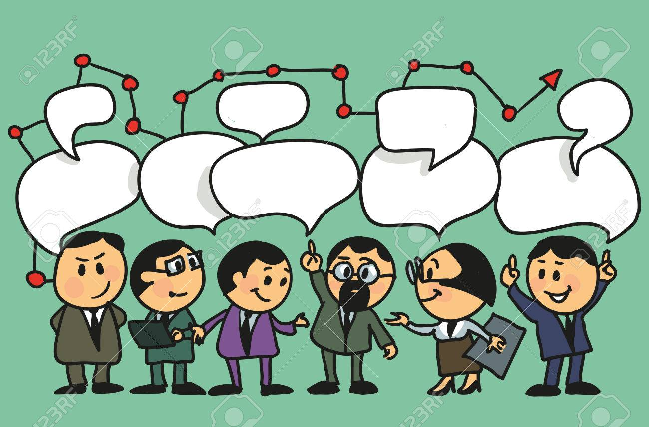 1300x856 Hand Drawing Vector Illustration. Cartoon Group Of People Leads