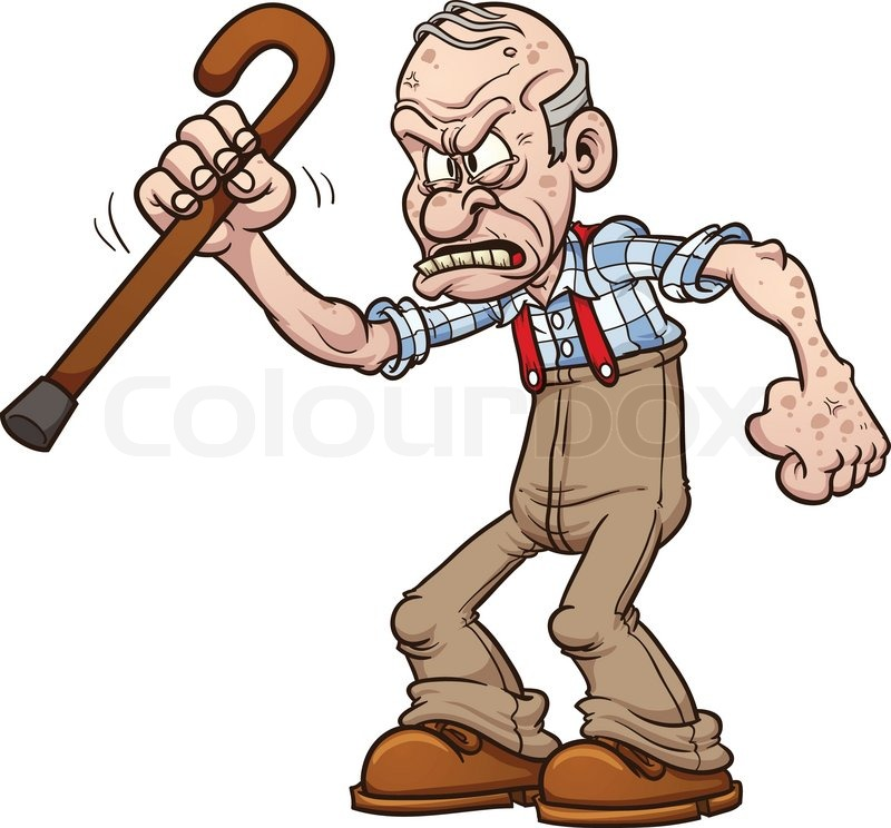 800x744 Grumpy Old Man. Vector Clip Art Illustration With Simple Gradients
