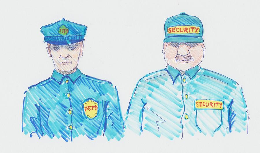 900x532 Policeman Security Guard Cartoon Drawing By Mike Jory