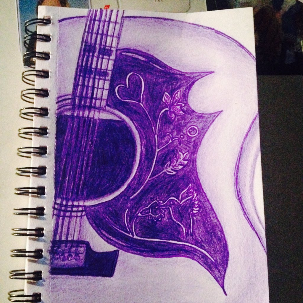 1024x1024 Guitar Colourpencil Drawing By Olive26194