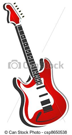 253x470 Stylized Red Electric Guitar Isolated On A White Background. Stock
