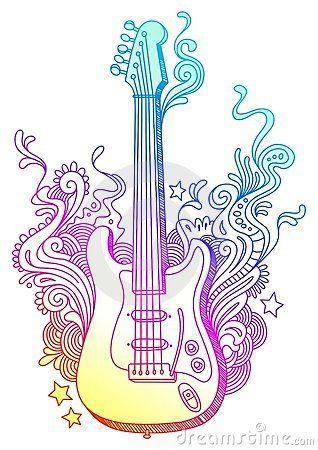 318x450 Hand Drawn Guitar 10201310.jpg Tattoo Tattoo