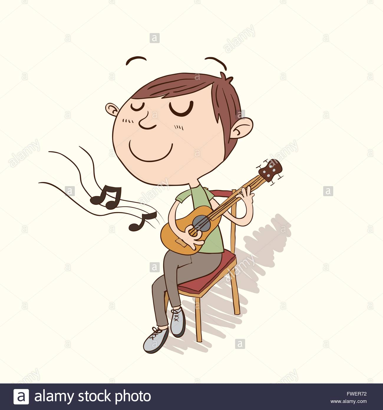 1300x1390 Cartoon Boy Sitting And Playing Guitar In Hand Drawing Style Stock
