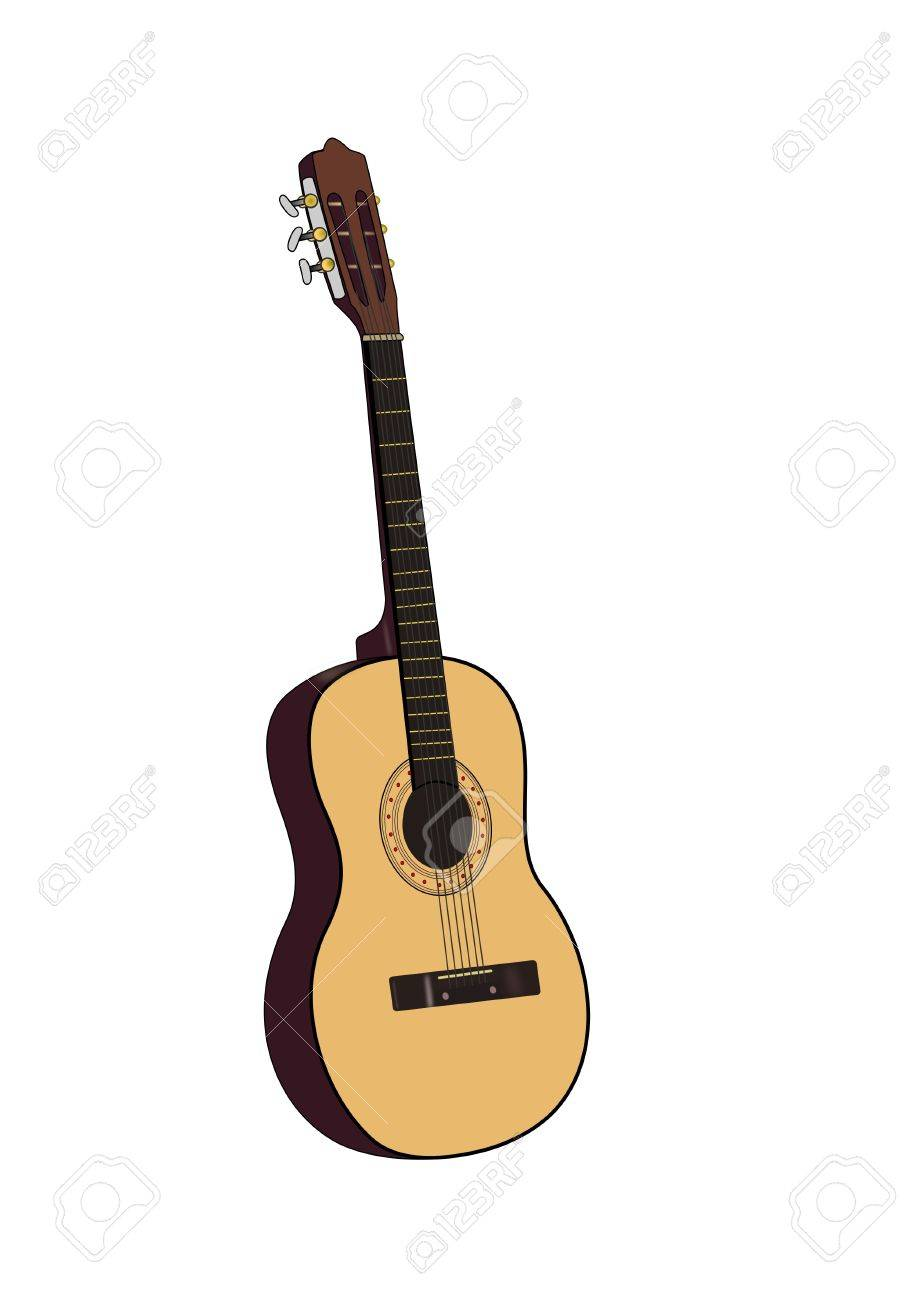 919x1300 Drawing Of An Acoustic Guitar Isolated Over White Background Stock