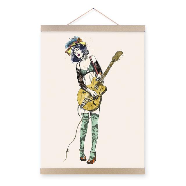 640x640 Guitar Girl Modern Cartoon A4 Poster Prints Pop Rock Roll Hippie