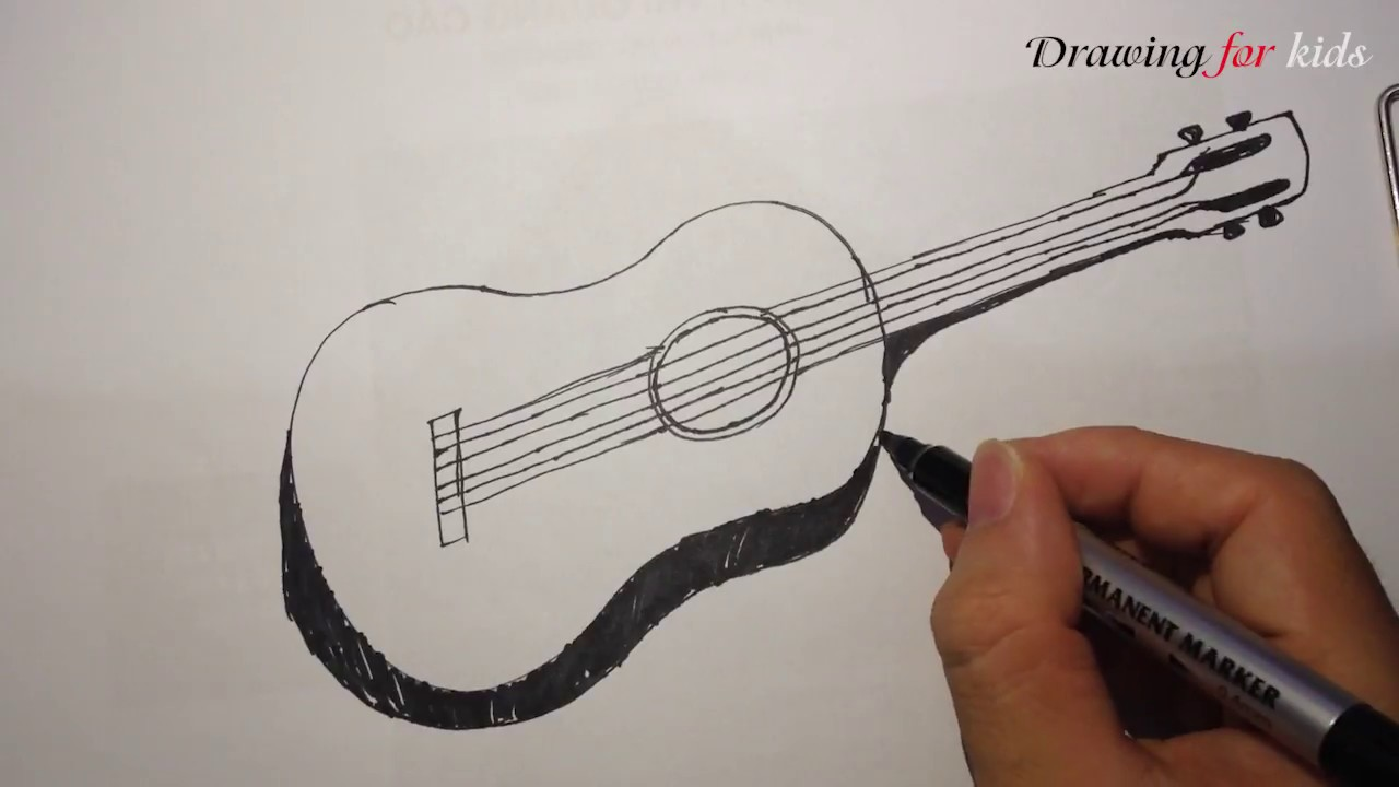 1280x720 How To Draw A Guitar In A Few Easy Steps Cartoon Guitar