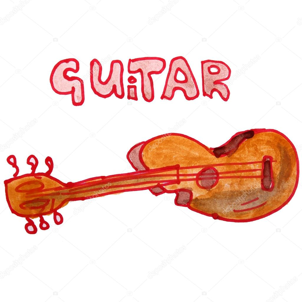 1024x1024 Watercolor Drawing Kids Cartoon Guitar On White Background Stock