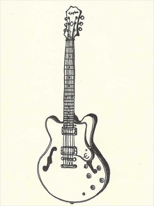 600x802 Guitar Drawings