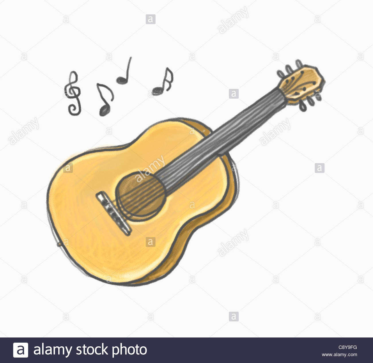 1300x1266 Drawing Of A Guitar Stock Photo 39938180