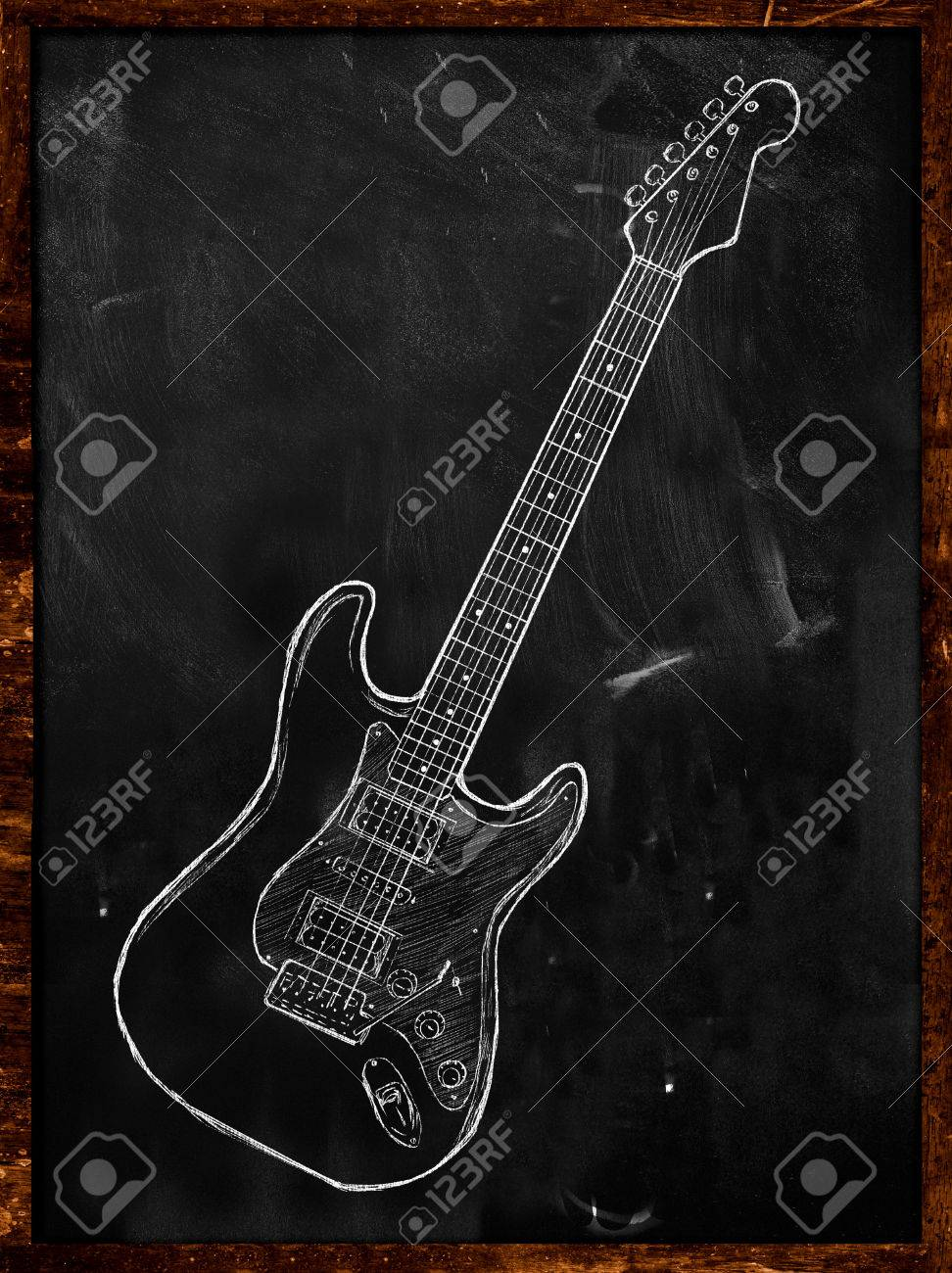 972x1300 Electric Guitar Drawing On Blackboard Stock Photo, Picture