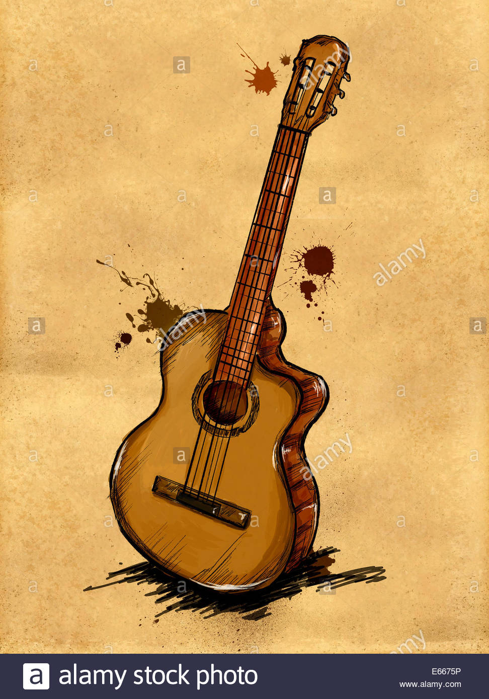 972x1390 Guitar Painting Paper Canvas Brown Art Drawing Stock Photo