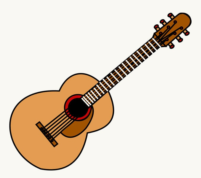678x600 How To Draw A Guitar In A Few Easy Steps Easy Drawing Guides