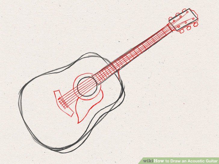 728x546 How To Draw An Acoustic Guitar 15 Steps (With Pictures)