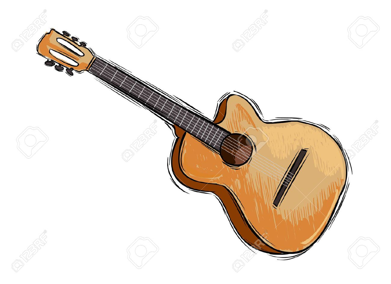 1300x945 Vector Illustration Of A Instrument Guitar Drawing Royalty Free
