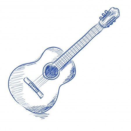 450x450 Acoustic Guitar, Sketch, Drawing, Illustration Painting Ideas