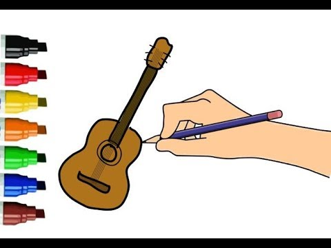 480x360 Drawing Tutorial Learn Colors How To Draw A Guitar Easy Step By