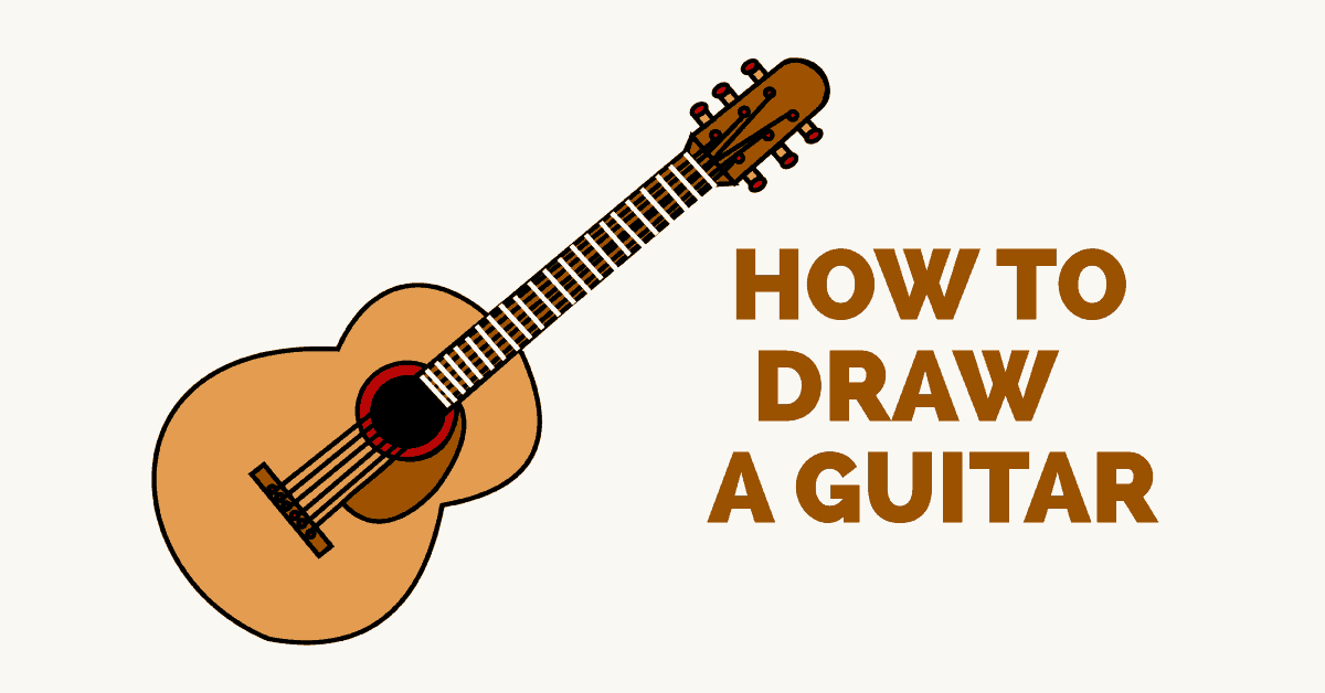 1200x628 How To Draw A Guitar In A Few Easy Steps Easy Drawing Guides