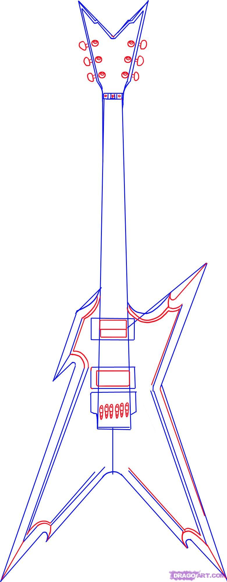 780x1999 How To Draw An Electric Guitar For Kids Step By Step Guitar