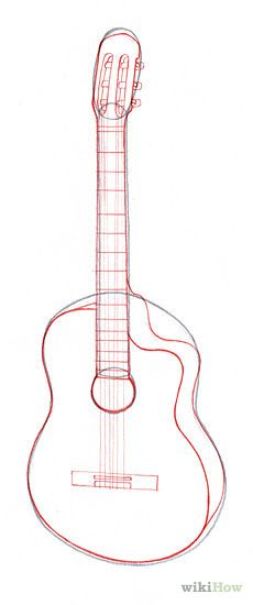 230x550 Acoustic Guitar Drawing