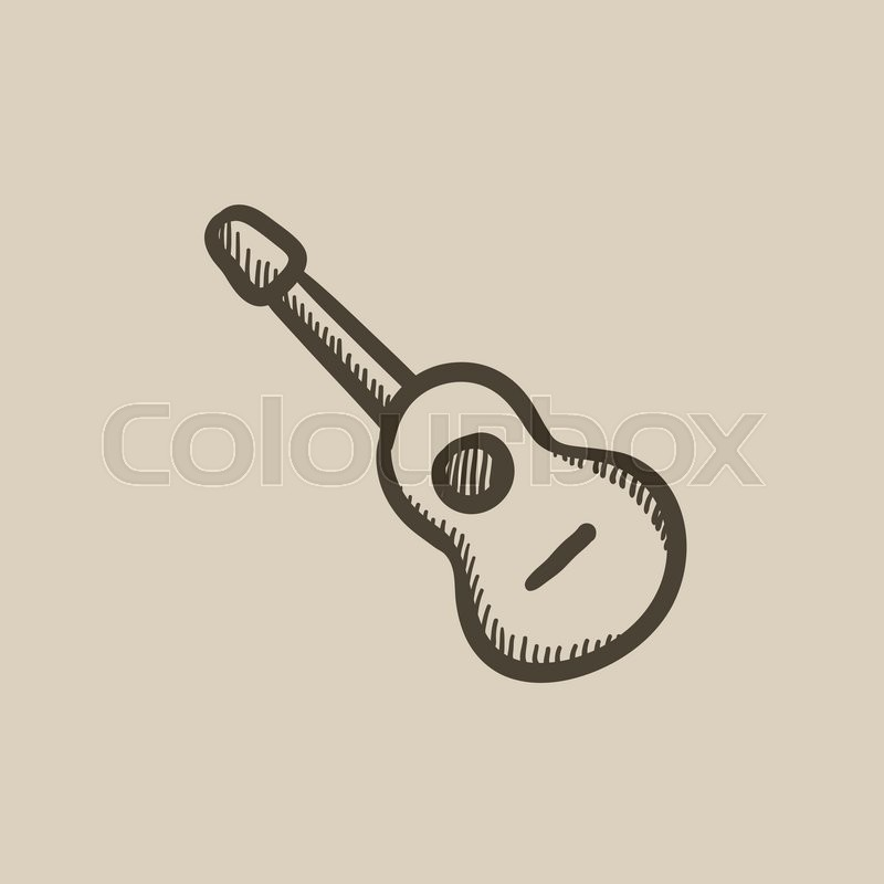 800x800 Acoustic Guitar Vector Sketch Icon Isolated On Background. Hand