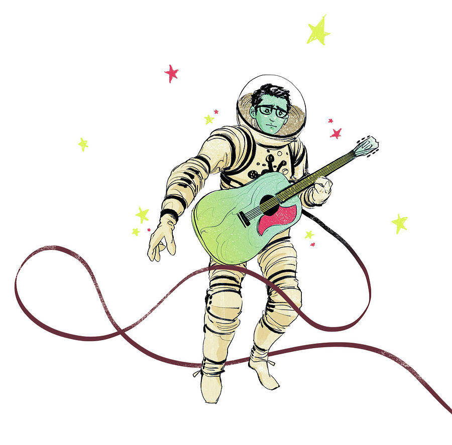 900x887 Astronaut Holding Guitar Drawing By Goni Montes