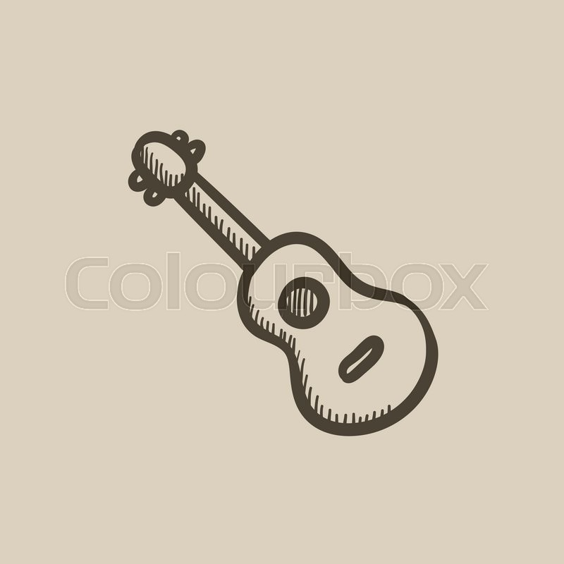 800x800 Guitar Vector Sketch Icon Isolated On Background. Hand Drawn