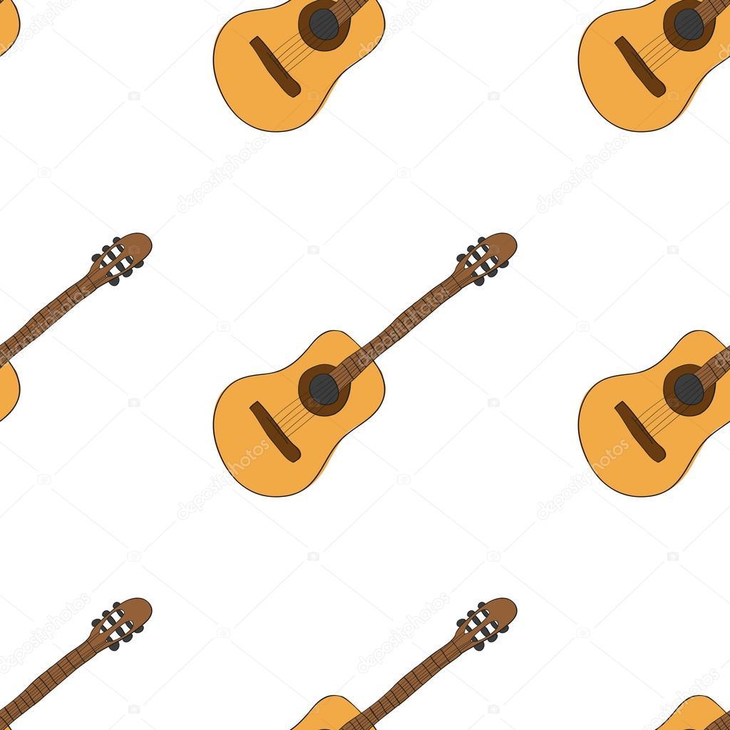 1024x1024 Hand Drawing Cute Cartoon Guitar Musical Instrument Doodle Stock